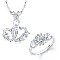 VK Jewels Art Of Love Heart Shape Combo Ring & Pendant-VKCOMBO1025R