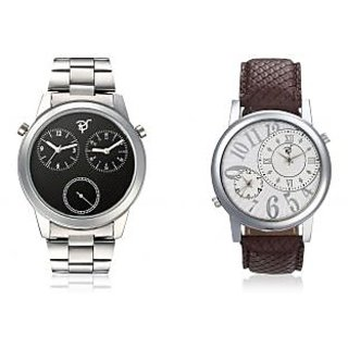 RICO SORDI Mens Multifunctional Dual Time Watches With Stainless Steel Strap And
