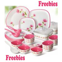 Nayasa Pink And White Square Dinner Set Of 32 Pieces