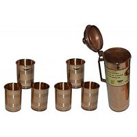 Advanced Raghav India 100% Genuine Copper Fridge Jug With 6 Stylish Designed Glasses Combo Set