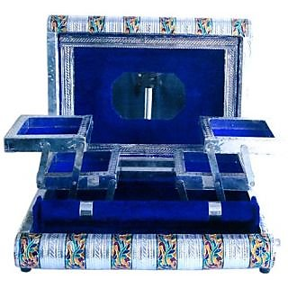 Jewellery Box, Jewelary Box, Jewellary Box, Jewelary Vanity Box In White Metal Good For Personnel Use And Gift (Blue)