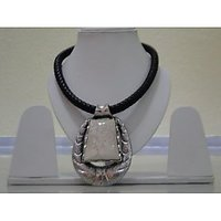 SUNDER: Necklace With Leather Strap And White Pendant