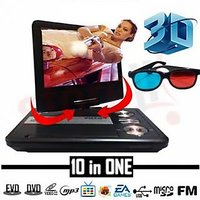 3D 9.8 Inch TFT Portable DVD Player With TV Tuner USB SD Card Slot