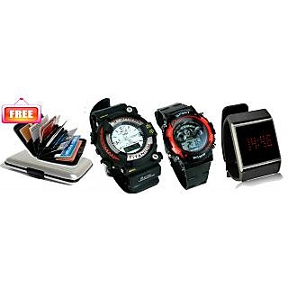 Combo Of 3 Sports Watches With Free Credit Card Holder