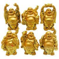 Set Of 6 Golden Laughing Buddha