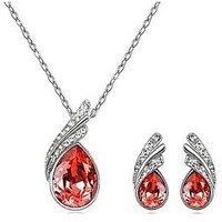 Crunchy Fashion RedAustrain Crystal Necklace Set