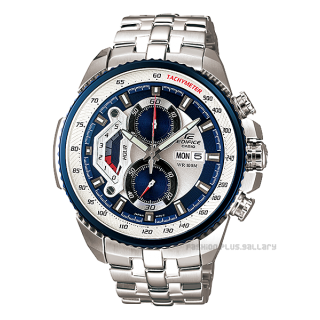 CASIO EDIFICE EF-558D-7AV BLUE WHITE DIAL SPORTS CHRONOGRAPH MENS WATCH-100% NEW