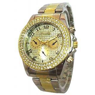 PAIDU Stone Studded Gold Silver Theme Wrist Watch For Men