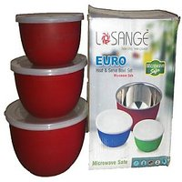 Euro Red Stainless Steel Heat & Serve Bowl And Free Vegetable Slicer
