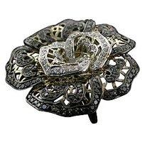 Beautiful Black Rose Ring On 18 Kt White Gold - 72831398