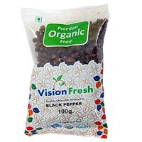 Vision Fresh Organic Black Pepper (Whole) 100 Gms