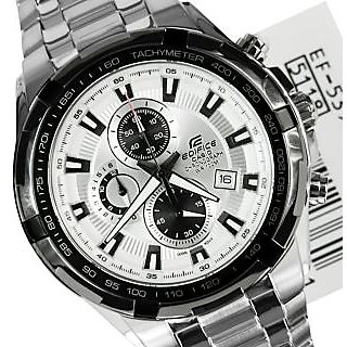 CASIO EDIFICE EF 539D-7AVD WHITE DIAL CHRONOGRAPH STYLISH MENS WRIST WATCH GIFTS