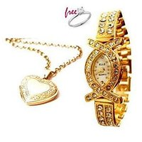 Heart Photo Pendant With Gold Plated Watch With Free Ring Valentine