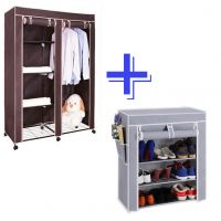 COMBO BROWN WARDROBE ORGANIZER WITH GREY 4 LAYER SHOE RACK STAND SHELF STORAGE