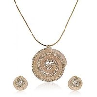 Golden Charming Big Circle Hallow Made By Wired CZ Studded Golden Pendant Set