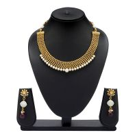 VK Jewels Pearl Beaded Gold Plated Necklace With Earrings- NKS1084G [VKNKS1084G]
