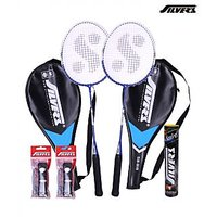 2 Silver's Sb-818 Badminton Racquets With 2 Individual 3/4Th Covers (Assorted) & 1 Box Silver's Shuttlecock Marvel (Pack Of 10) & 2 Silver's Pvc Grips