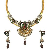 Sparkling Jewellery Double Peacock Necklace Set With Earrings - Women