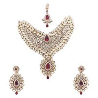 Neelam Dazzling Gold Plated Kundan Necklace Jewellery Set In Royal Maroon