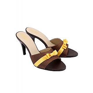 Charu Diva Women Brown-Gold Color Designer Heels
