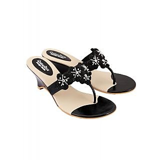 Charu Diva Women Black Color Designer Wedges