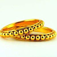 Gold Platted Moti Bangle Kara Size-2.4,2.6,2.8