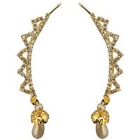 Sparkling Jewellery Pearl Drop Golden Ear-Cuff Earring