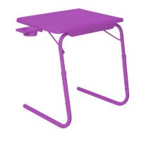 Table Mate II 2 Folding Portable Adjustable Table With Cup Holder Voilet