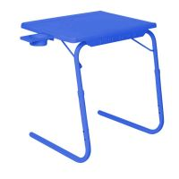 Table Mate II 2 Folding Portable Adjustable Table With Cup Holder Dark Blue