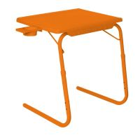 Table Mate II 2 Folding Portable Adjustable Table With Cup Holder Orange