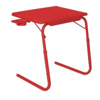 Table Mate II 2 Folding Portable Adjustable Table With Cup Holder Red