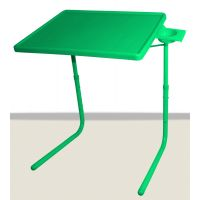 Table Mate II 2 Folding Adjustable Portable Table With Cup Holder Green