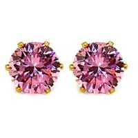 5.00mm Round Pink Cubic Zirconia Gold Plated Stud Earring