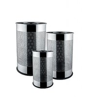 STEEL DUSTBIN ROUND PERFORATED SET OF 3