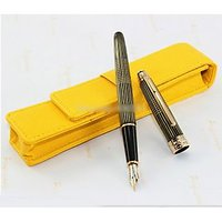 Montblanc Optimal Design Gold Stripes And Black/Gold Fountain/Ink Pen With Pouch