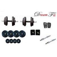 Dreamfit 15kg Adjustable Dumbell Rubber Plates Grip Dumbell Rod Gym Gloves Wrist Band