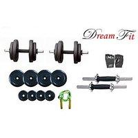 Dreamfit 16kg Adjustable Dumbell Rubber Plates Grip Dumbell Rod Gym Gloves Skipping Rope