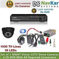 1 DOME CAMERA 36 IR 1000 TVL 2 YR WRNTY & 4 CH DVR 1 YR WRNTY, SUPPLY, CONNECTOR