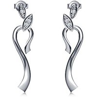 Vorra Fashion Platinum Plated 925 Silver CZ Leaf Style Stud Earrings For Women's