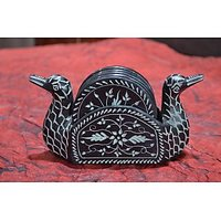 Artist Haat Hand Crafted Black Stone Duck Shaped Coasters And Holder (Set Of 6)