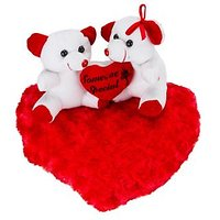 Glitters Valentines White Couple Teddy On Blooming Red Heart (11inch)