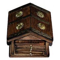 Onlineshoppee Traditional Coaster Set Hut With Brass Carving