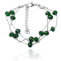 Beadworks Crystal Beads Green Beaded Bracelet