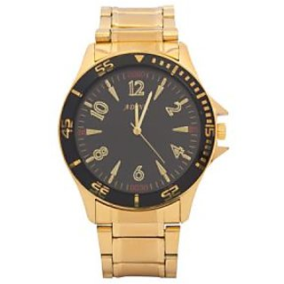 Adine Black Watch For Men Ad-7003Golden-Black