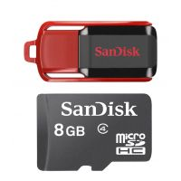 SanDisk Cruzer Switch 8GB Pen Drive With SanDisk 8GB Class 4 Memory Card
