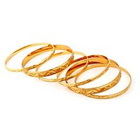 The Pari's Set Of 6 Gold Plated Thin & Broad Bangles
