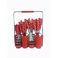 ANNI POLKA DOTTED 24 PC KNIFE AND FORK SET - 73306482