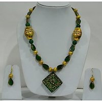 Beautiful Green And Golden Color Beaded Jewellery