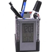 LED Pen Stand, Pen Holder With Digital Clock Alarm Calendar And Thermometer