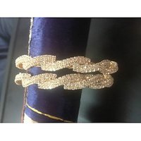 24KT Gold Coated Cz WHITE Stones Bangles Bracelets Wedding 2.6 Size